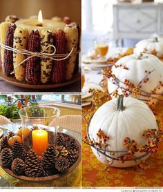 Thanksgiving Decorating Ideas....love the pine cones and candle