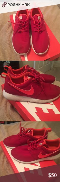 Red Nike Roshe These are youth size 6 but that is equivalent to women's 8 I do wear 7.5 as well these were used a couple of times at the gym so they do have minor wear they will come with original box 📦 and they stand out so nicely I got tons of compliments when I wore them Nike Shoes