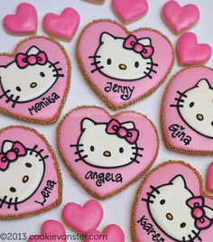 Heart shaped, #pink, personalized, Hello Kitty #cookies by Cookievonster