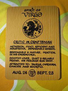 VTG 1970s Retro Horoscope Zodiac Horoscope Sign Wooden NOS Wall Art VIRGO GIRL
