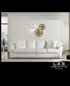 Scultura da parete floreale bianco tortora e marrone in mdf Laser Style