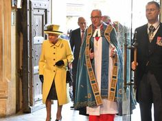 BThe queen walks into Westminster Abbey with the Dean of Westminster, John Hall. Picture: AFP/Ben Stansall