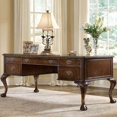 Hooker Cherry Chippendale Office Desk - how does one get work done at a desk with a name like this?!