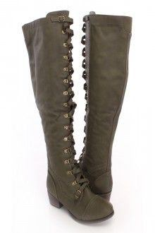 Military Green Faux Leather Lace Up Knee High Boots