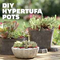 These lightweight hypertufa pots are ideal for gorgeous succulent plants: http://www.bhg.com/decorating/do-it-yourself/accents/cast-in-stone/?socsrc=bhgpin040414hypertufapots&page=12