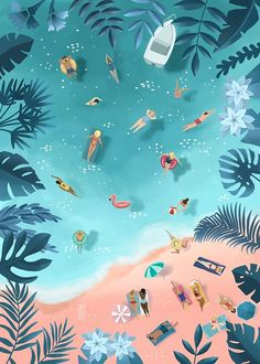 I'm Asia, a freelance digital illustrator. I enjoy translating everyday life observations into colorful language of art. I do editorial illustration work, also sell my own art. Beach Illustration, Digital Illustration, Hawaii Vintage, Posters Vintage, Wallpaper Backgrounds, Wallpapers, Cute Art, Art Drawings, Illustrations