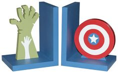 Wooden Avengers Bookends  Captain America and by DominiquesOnline, $69.00