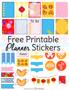 Free stickers for planners! Grab free planner printables inspired by Chinese New Year. These planner stickers are designed for ECLP vertical layouts.