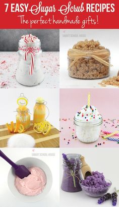 Looking for a quick and easy gift? Here are 7 easy sugar scrub recipes that are the perfect handmade gifts! #DIY #SugarScrub #gift