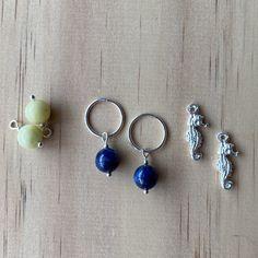 Silver Sleepers, Lemon Jasper, Lapis Lazuli, Seahorse Charm Earrings