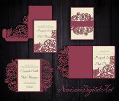 Peonies Set Cricut Wedding Invitation Template Gate Fold / Pocket Envelope / Bellyband. SVG, DXF cutting files, Silhouette Cameo, Laser cut