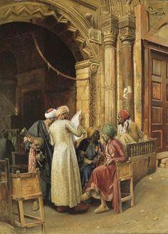 Ludwig Deutsch - Versammlung um die Morgen-Nachrichten, Kairo 1885