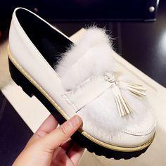 Plus Size 44 Tassel Oxford Shoes For Women Platform Shoes With Fur Women Flat Shoes Fashion Patent Leather Shoes Women