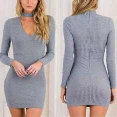 b4cdf0de86f honeybee line · 2016 Women Bandage Bodycon Long Sleeve Dress Autumn Winter  Sexy Party Mini Short Dress Solid Fashion