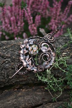 Copper thistle brooch with handmade lampwork by AnnTitovaDesign