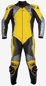 $299.00 - Grey and Yellow Motorcycle Leather Suit