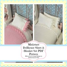 PDF  Miniature Dollhouse Pom Pom Sheet & Blanket Set  Pattern