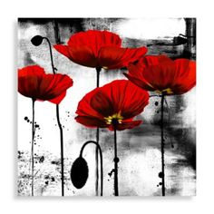 Line of Poppies Wall Art - BedBathandBeyond.com...Bathroom, red white black