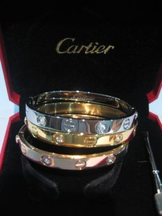Cartier love bangles white gold, yellow gold and pink gold- LOVE