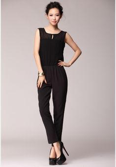 S1456 casual chiffon jumpsuit-black