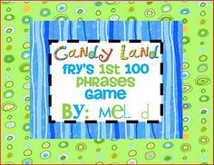 30 Candy Land games for word work!