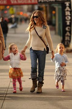 Sarah Jessica Parker does double duty, going hand in hand with her twins Tabitha and Marion, as they go for a walk around New York City