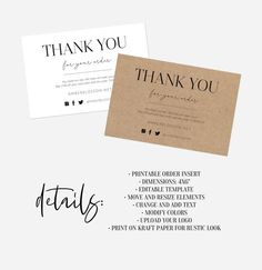 business thank you cards Printable Thank You For Your Order Inserts Custom Business Thank You Insert Cards Thank You Packaging Insert Customer Thank You Note Parcel Insert Perso Customer Thank You Note, Thank You For Order, Thank You Notes, Thank You Card Design, Thank You Card Template, Business Thank You Cards, Thanks Card, Online Print Shop, Marketing