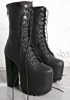 Current Mood Nola Boots - I Want it Black  #goth #gothboots #platformboots