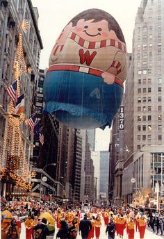 Macy's Thanksgiving Parade Balloons Part 2 - 1975 WeebleTook forever to find it. Kept missing it. Macys Thanksgiving Parade, Happy Thanksgiving, 1975, Back In The Day, Childhood Memories, Vintage Photos, New York City, Festivals, Balloons
