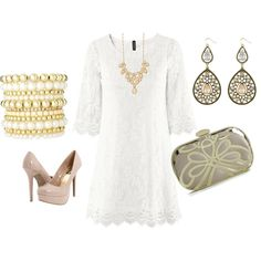 cute rehearsal dinner attire for the bride. love the idea of incorporating a simple white dress.