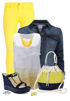 """""""Summer in Yellow, Navy & White"""" by kginger ❤ liked on Polyvore featuring 7 For All Mankind, MANGO and CHARLES & KEITH"""