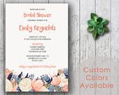 Printable Bridal Shower | OR | Birthday Invitation PDF - Rustic Floral Bouquet Flowers in Dusty Blue Peach (Or Your Choice in Colors!)