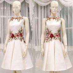 Embroidery floweredA-line Homecoming Dress Short Party DressesEvening Dress Hand Embroidery Dress, Embroidery Suits Design, Evening Dresses, Formal Dresses, Prom Gowns, Stylish Dresses For Girls, Kawaii Dress, Party Dress Outfits, Dress Neck Designs