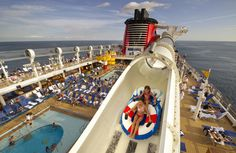 Disney Cruise Line pools aboard the Disney Fantasy include 3 themed freshwater pools, a water play area for very young ones, and an exciting standalone waterslide open each and every day of your cruise vacation.