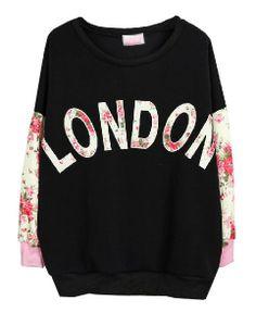 LONDON Printed Floral Batwing Sleeves Sweatshirt