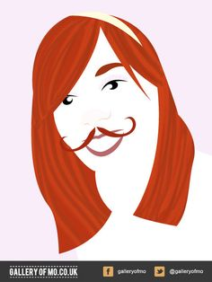 Portrait from 2011's Gallery of Mo. Kat Walker donated £5.00 to Movember and had a portrait created by Adam Campion. www.galleryofmo.co.uk