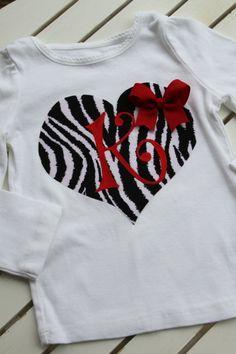 Valentine heart initial Heat Transfer Vinyl design on shirt.