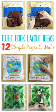 Children love playing with quiet books, and moms love how they inspire creative play. Here are 12 simple quiet book layouts to add to your fabric quiet book. From farm animals to pirate's treasure, there is something for every age! Diy Quiet Books, Baby Quiet Book, Felt Quiet Books, Quiet Book Templates, Quiet Book Patterns, Creative Activities For Kids, Creative Play, Indoor Activities, Summer Activities