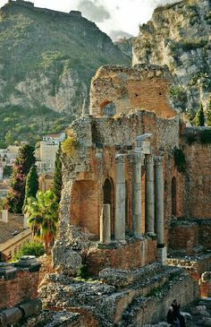 The ruins of the Roman Theater,Taormina,Sicily