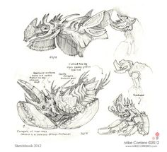 defensive position and head sketch of two creature species, plus some smaller doodles..