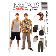 Mens Sewing Pattern McCall's 4044 Sporty Shirt Tank Top Shorts & Pants Casual Wardrobe Mens Size S M L UNCUT