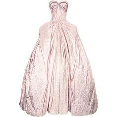 Zac Posen Iris Taffeta Gown (13,215 CAD) ❤ liked on Polyvore featuring dresses, gowns, long dresses, ball gowns, powder blush, a line dress, ball dresses, taffeta gown, long pink dress and pink dress