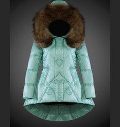 Acheter Moncler Femme Manteau Blouson capuchon de fourrur bleu pas cher  Doudoune Femme Pas Cher, 64b644beb67