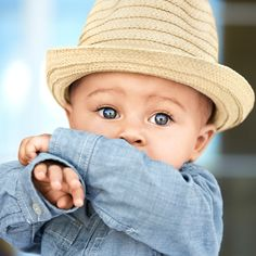 for his first party, dress him up in soft chambray and a little straw fedora hat. celebrate in style with #littlefirsts from babyGap.