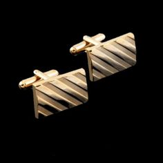 Gold Diagonal Stripes Formal Groomsmen Groom Wedding Mens Cufflinks
