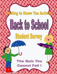 A easy to use rating scale to determine your students feelings about school, socialization, and school environment. Back to school activity, Student Survey