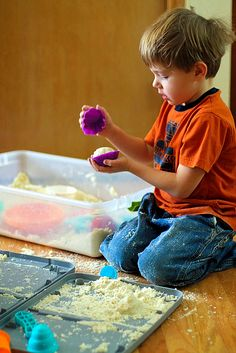 """Pull out a sensory bin when children need to calm down. Actions like running their fingers over, through, and under sensory material is very therapeutic. *Recipe for """"sticky sand"""""""
