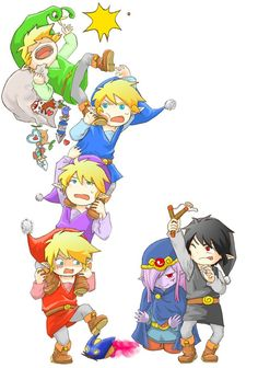 Link - The legend of Zelda - Red Blue Vio Dark Link and Vaati chibis