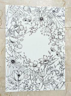 Flower Art Drawing, Botanical Line Drawing, Floral Drawing, Mini Drawings, Simple Line Drawings, Art Drawings, Bullet Journal Art, Bullet Journal Themes, Line Art Flowers