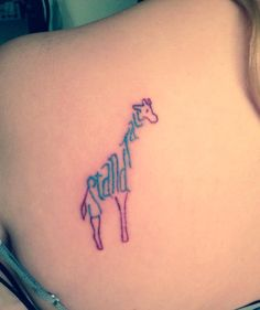 Colored giraffe tattoo says stand tall. Maybe pink and turquoise instead